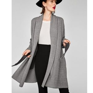Zara Gray Herringbone Long Cardigan Sweater